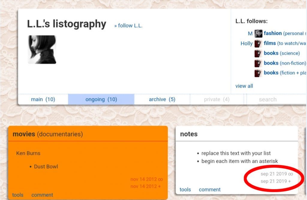 Cuenta de Listography de Elisa Lam